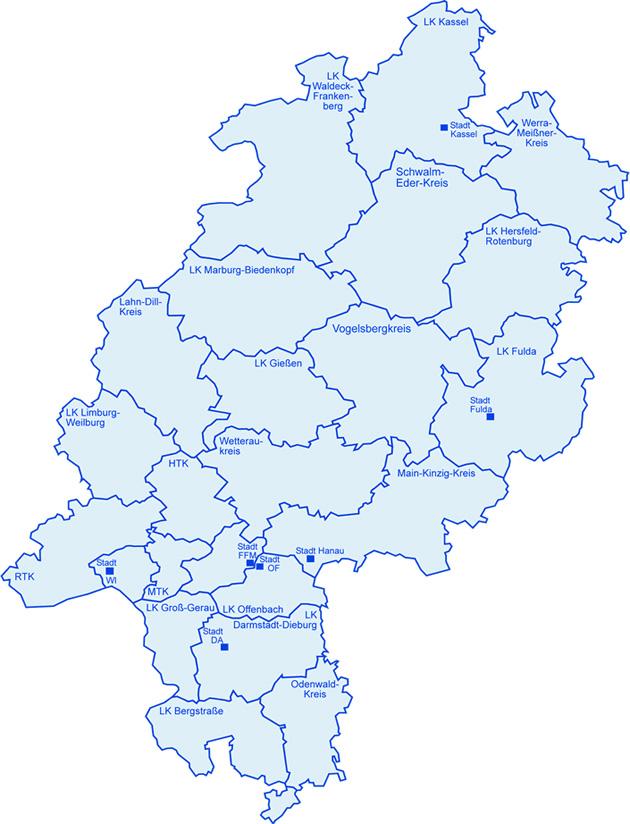 Landkarte Der Regionen Olov Hessen